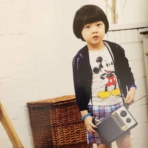 Boy Mickey shirt and black pants